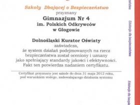 Certyfikat Szkoła Dbająca o Bezpieczeństwo